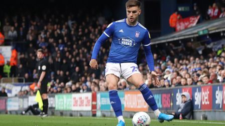 Luke Garbutt in action during Town's 4-1 win over Accrington Stanley Photo: ROSS HALLS