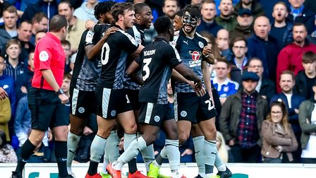 A masked Nelson Oliveira celebrates with his Reading teammates at Portman Road last season. Picture: