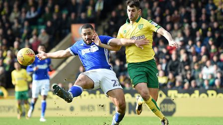 Nelson Oliveira in action for Norwich against Town. Picture: PA