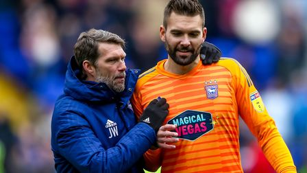 Town goalkeeping coach Jimmy Walker and Bartosz Bialkowski pictured on the final day of the 2018/19