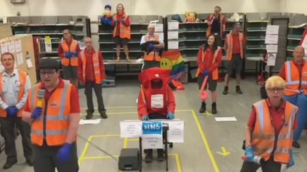 The postal workers in Leiston have recorded an incredible video thanking NHS staff. Picture: BETH DU