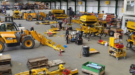 Staff at Claydon's factory at Wickhambrook in Suffolk assembling products destined for farmers in th