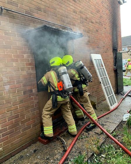Firefighters tackling the blaze at a house in Braintree Picture: ESSEX COUNTY FIRE AND RESCUE