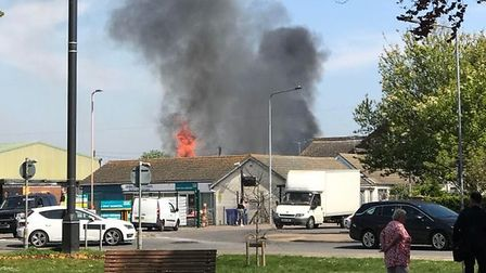Firefighters from Essex Police are battling a fire at a warehouse in Clacton. Picture: CAMERON JAMES
