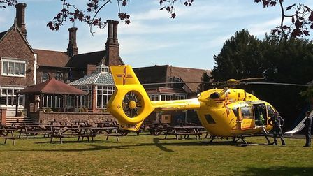 An air ambulance has landed outside The Golf Hotel pub in Foxhall Road Picture: JACQUI LAZELLE/jaqu