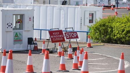 The Covid-19 drive-through testing centre near the Copdock interchange in Ipswich Picture: SARAH LU
