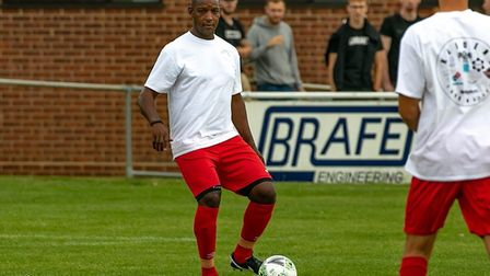 Former Ipswich Town star Titus Bramble playing in a charity match. Picture: PAUL LEECH
