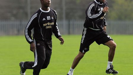 Titus Bramble and Kieron Dyer training together at Newcastle United in 2005. Photo: PA