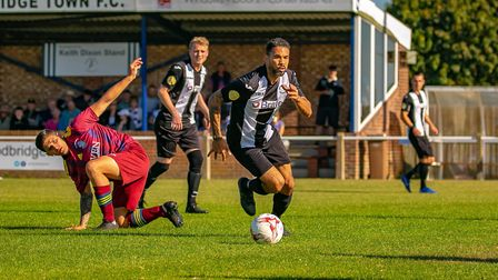Carlos Edwards plays for Woodbridge Town in the Eastern Counties League at the age of 41. Photo: PAU