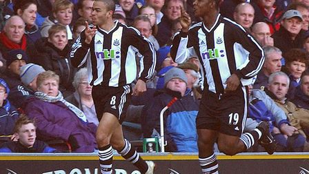 Kieron Dyer (left) celebrates with team-mate Titus Bramble during their time together at Newcastle U