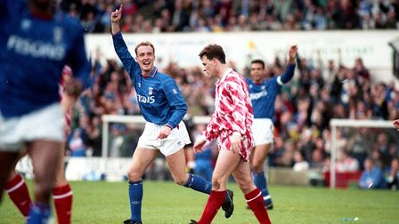 Gavin Johnson nets the second of the game against Brighton in 1992