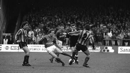 Gavin Johnson in action as Town beat Bradford City at Portman Road in March 1990