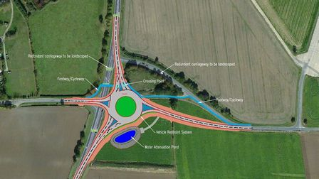 The southern of two roundabouts planned for the A140 near Eye Airfield. Picture: Suffolk County Coun
