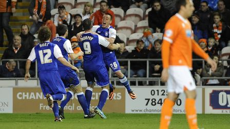 Paul Taylor celebrates with Daryl Murphy after he scored the winner at Blackpool back in November 20