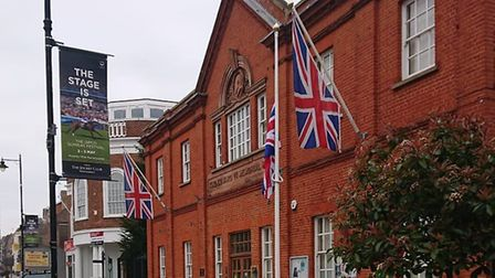 The flag outside Newmarket's Memorial Hall has been lowered to half-mast as a token of respect for c