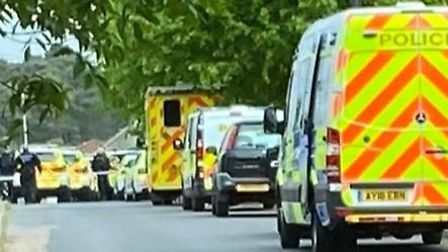 Emergency services have been pictured in Mildenhall, where they attended an incident. Picture: MEGHA