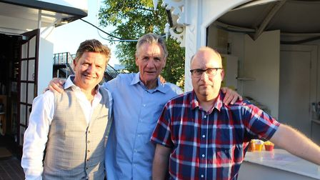 Michael Palin at the Riverside cinema with Stuart Saunders and Neil McGlone during Film Feast festiv