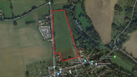 The land in Sproughton which Hopkins Homes lodged plans for development of 49 homes. Picture: GOOGLE