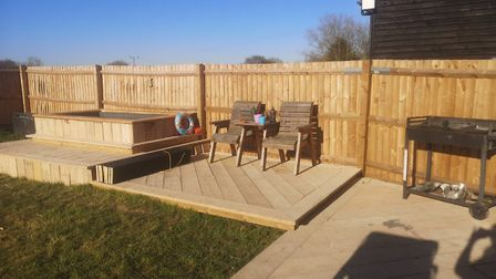 Charlotte Rayner built a hot tub with old scaffold boards Picture: CHARLOTTE RAYNER