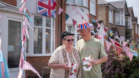 Marion and Ralph Chinery decorated their house with bunting for VE Day Picture: SARAH LUCY BROWN