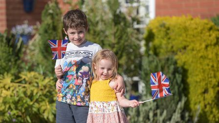 Levi and Evelyn Last enjoy their VE street party in Sproughton Picture: SARAH LUCY BROWN