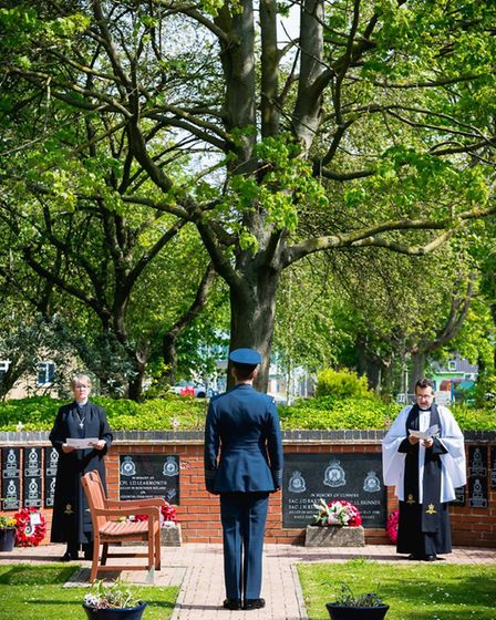 A moment of silence was observed at RAF Honington to make the 75th anniversary of VE Day Picture: RA