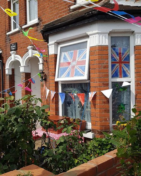 Kitchener Road in Ipswich was filled with balloons, bunting and British flags for VE Day Picture: CO