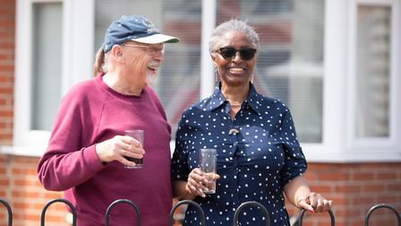 Paulette and Clifford Reed chat to their neighbours on Brunswick Road Picture: SARAH LUCY BROWN