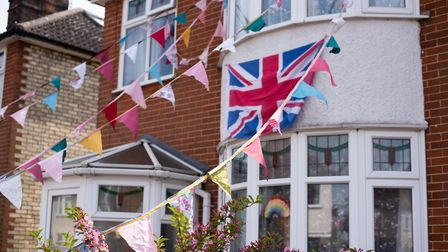 Bunting adorned the houses for VE Day on Beverley Road in Ipswich Picture: SARAH LUCY BROWN