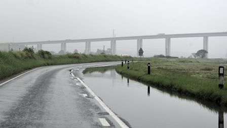 The Strand under the Orwell Bridge could flood later today Picture: ARCHANT