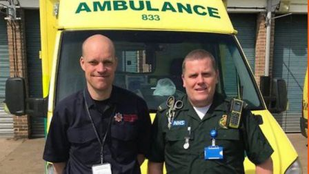 Scott Taylor (left) has been driving ambulances during the Covid-19 pandemic Picture: ESSEX COUNTY F
