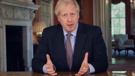 Prime Minister Boris Johnson addressing the nation about coronavirus from 10 Downing Street in Londo