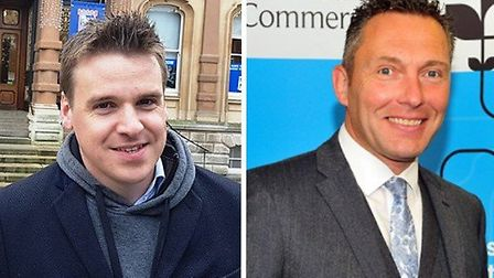 Ipswich MP Tom Hunt (left) and Chief executive of Suffolk Chamber of Commerce John Dugmore. Picture: