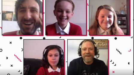 Year 6 pupils, Lucas, Sam and Emily from St Gregory CEVC Primary School joined Mark Watson and Rufus