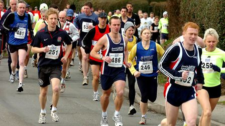Action from the Bildeston Half-Marathon and 10K races, held from the village community centre throug