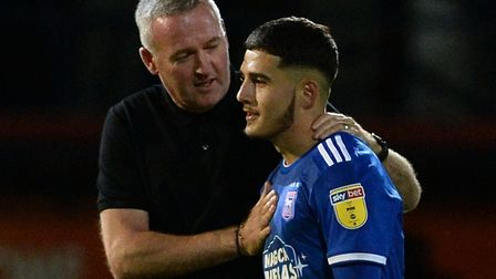 Armando Dobra, pictured with Ipswich Town manager Paul Lambert, is close to signing a new contract.