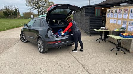 The drive-thru service at the Friday Street Farm Shop helps people avoid coming into contact with ot