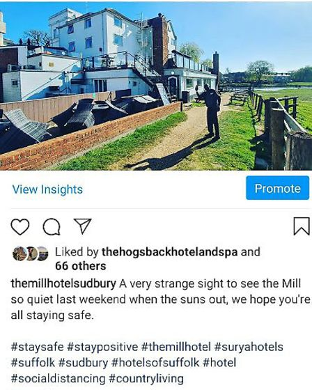 The Mill Hotel's Instagram page shows some passerbys have noticed the hotel has shut but others have