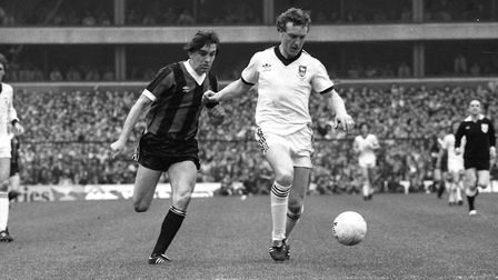 Kevin Beattie, right, was one of Karl Fuller's Ipswich Town heroes after Kenny Daglish. Picture: ARC