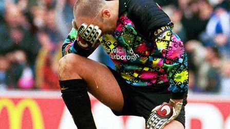Norwich goalkeeper Bryan Gunn holds his head in his hand, after his blunder.