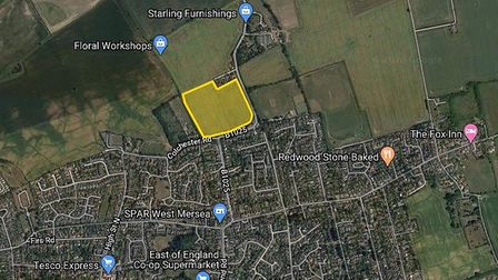 The land off Colchester Road is currently used for agriculture - but plans have been submitted to Co