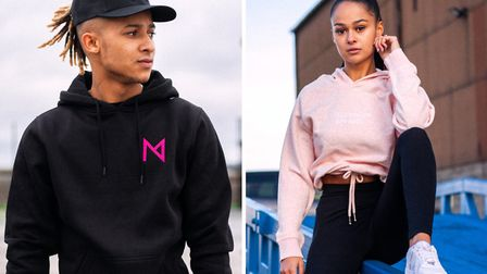 Jack Lankester's clothing line is growing well. (Right) a hoodie launched for Breast Cancer Awarenes