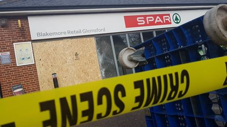 A stolen Land Rover was used to smash through the front of a SPAR shop in Glemsford Picture: ARCHAN