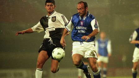 Simon Milton in action during Town's 2-0 home defeat against Stockport County in November 1997. Toug
