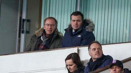 Ipswich Town owner Marcus Evans and general manager of football operations Lee O'Neill watch the Blu