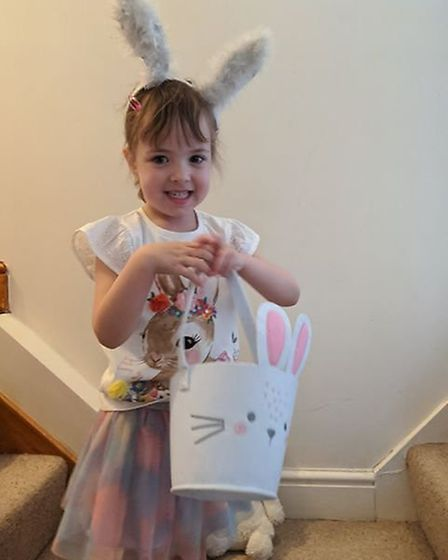 Violet Ellis aged three, with her bunny bucket Picture: FAYE ELLIS