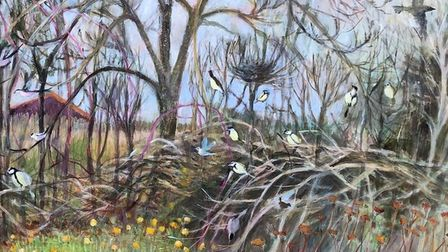 A Hedge In Winter by Tessa Newcomb part of the Alde Valley Spring Festival exhibition which focuses
