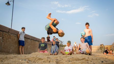 Children play on Felixstowe beach Picture: MIKE BOWDEN