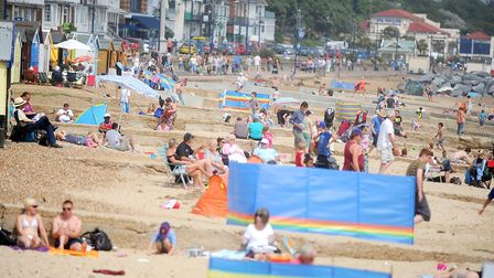 Hundreds flock to Felixstowe to enjoy the seaside when the weather is warm Picture: GREGG BROWN
