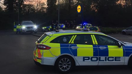Police responding to reports of a man with a gun at the Lidl store in Stowmarket Picture: DAVID SZAM